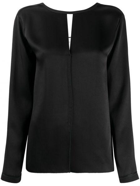 Черная блузка с вырезом из вискозы Forte Forte