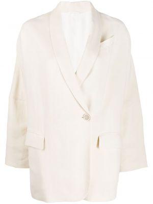 Белая куртка свободного кроя с вырезом с карманами Brunello Cucinelli