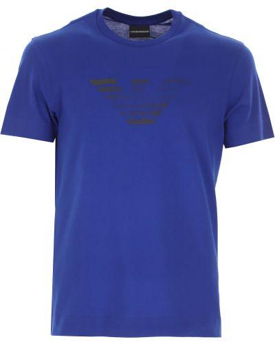 Niebieski t-shirt bawełniany krótki rękaw Emporio Armani