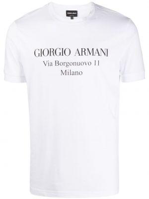 Biały t-shirt bawełniany z printem Giorgio Armani