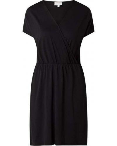 Czarna sukienka mini bawełniana z dekoltem w serek Armedangels