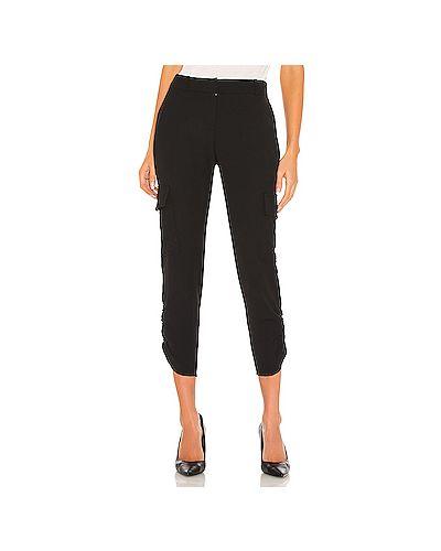 Черные брюки карго с карманами с манжетами с оборками Parker