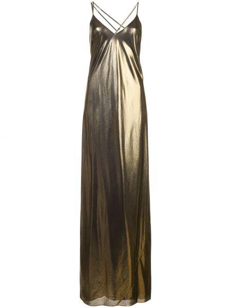 Желтое шелковое платье на бретелях с драпировкой Michelle Mason