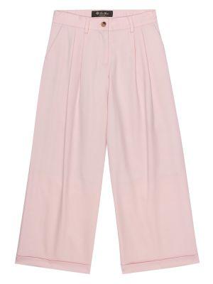 Spodnie różowy wełniany spodnie Loro Piana Kids