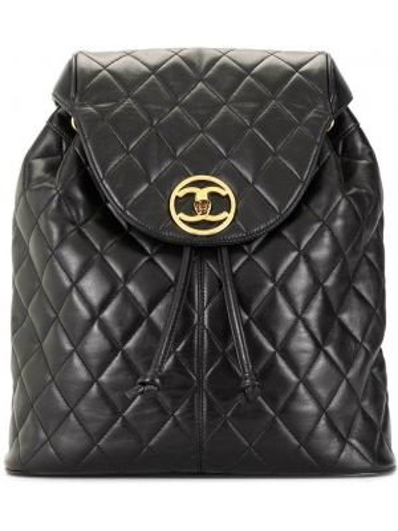 Skórzany plecak czarny pikowana Chanel Pre-owned