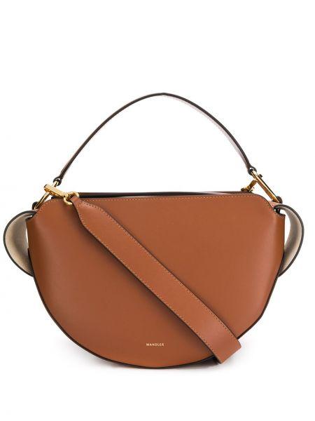 Золотистая коричневая сумка-тоут круглая на молнии Wandler