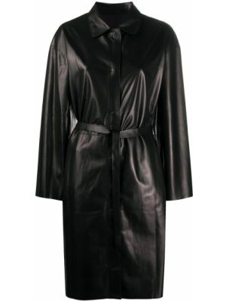 Черное пальто классическое с воротником на кнопках с поясом Salvatore Santoro