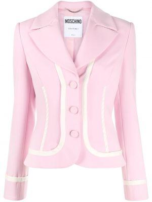 Однобортный розовый удлиненный пиджак на пуговицах Moschino
