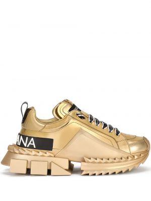 Кожаные кроссовки - желтые Dolce & Gabbana