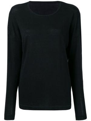 Шерстяной черный свитер свободного кроя с круглым вырезом Sottomettimi