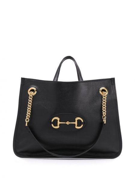 Skórzana torebka na ramię czarna Gucci