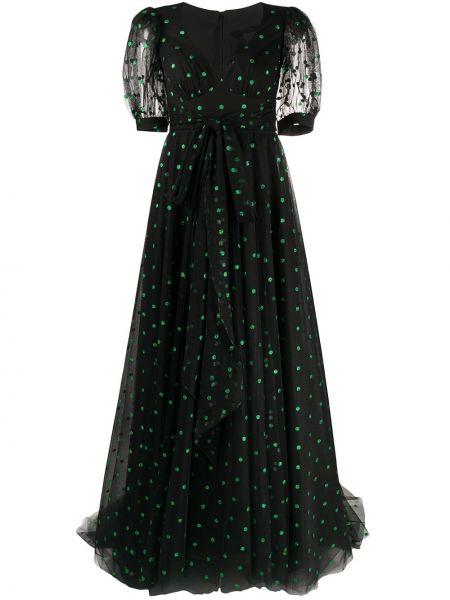 Вечернее платье в горошек с V-образным вырезом Parlor