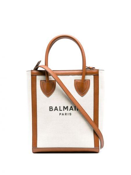 Brezentowy brązowy torba kosmetyczna z kieszeniami z gniazdem Balmain
