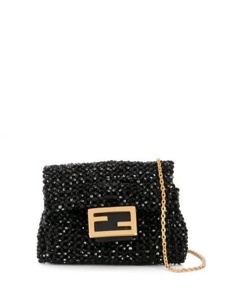 Złota czarna torebka na łańcuszku Fendi