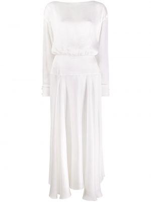 Biała sukienka koktajlowa rozkloszowana z długimi rękawami Galvan