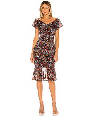 Платье миди шифоновое с оборками Majorelle