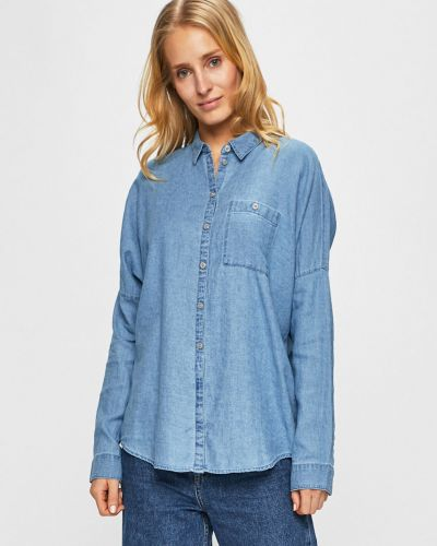 Блузка с длинным рукавом однотонная синяя Review