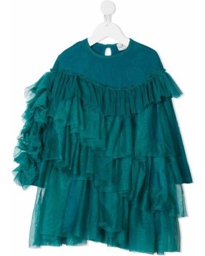 Зеленое платье с рукавами с оборками на пуговицах с вырезом Raspberry Plum