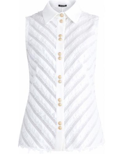 Блузка без рукавов с бахромой на пуговицах Balmain