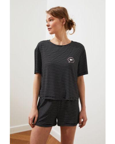 Czarna piżama z wiskozy w paski Trendyol