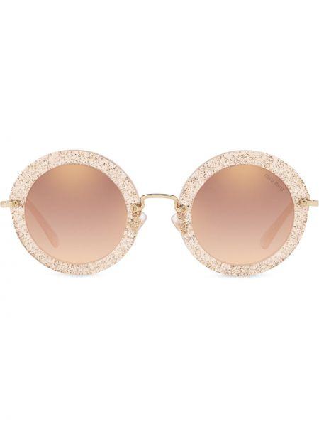Муслиновые желтые солнцезащитные очки круглые Miu Miu Eyewear