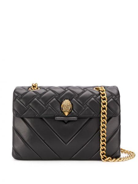 Черная стеганая сумка на цепочке из натуральной кожи Kurt Geiger London