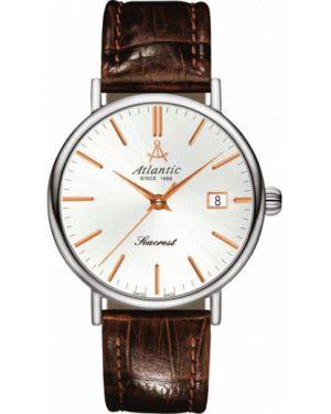 Часы водонепроницаемые кварцевые с кожаным ремешком Atlantic