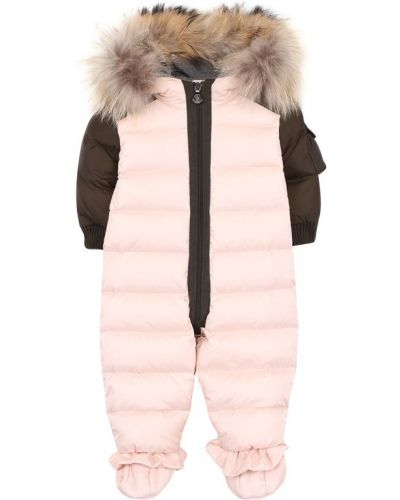 Комбинезон с капюшоном светло-розовый Moncler Enfant