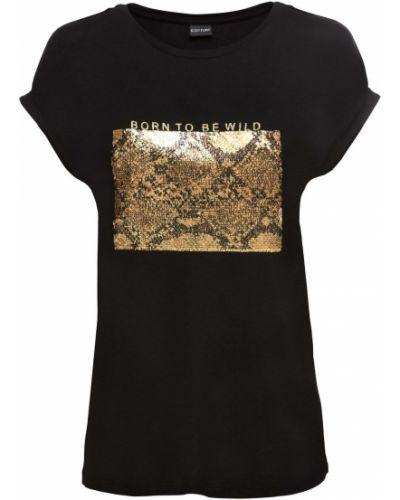 Блузка с коротким рукавом с пайетками черная Bonprix