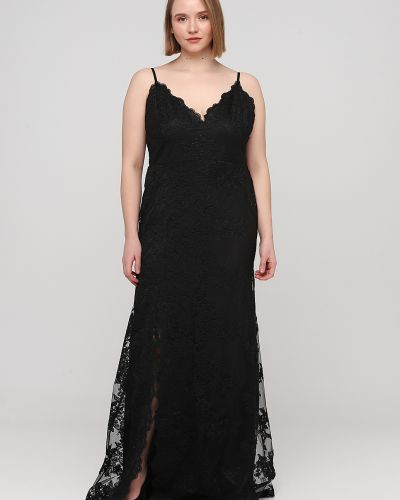 Гипюровое черное вечернее платье на бретелях No Brand