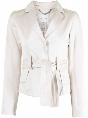 Шелковый однобортный удлиненный пиджак с поясом Céline Pre-owned