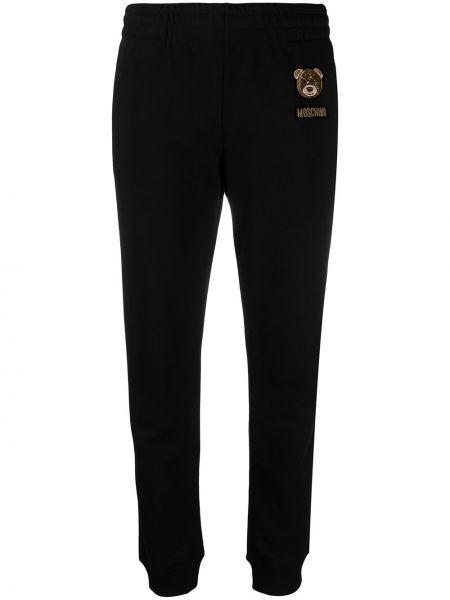 Черные спортивные брюки с поясом узкого кроя Moschino