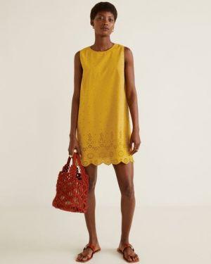 Платье мини с вышивкой с вырезом Mango