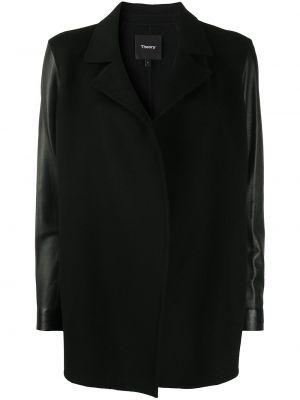 С рукавами черный кожаный классический пиджак Theory