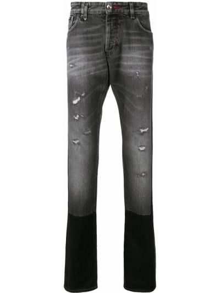 Prosto bawełna niebieski jeansy o prostym kroju z paskiem Philipp Plein