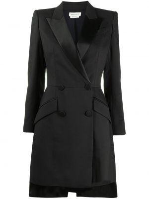 Шелковое деловое черное платье макси Alexander Mcqueen