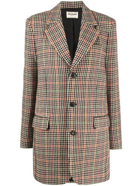 Удлиненный пиджак в клетку на пуговицах с лацканами Zadig&voltaire