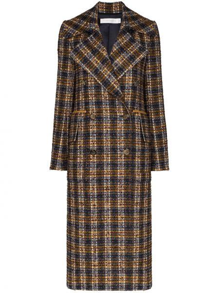 Кожаное пальто с капюшоном двубортное Victoria Beckham