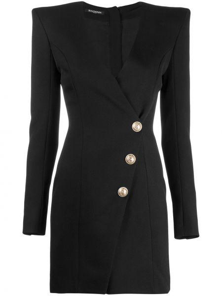 Черное прямое платье мини с V-образным вырезом на пуговицах Balmain