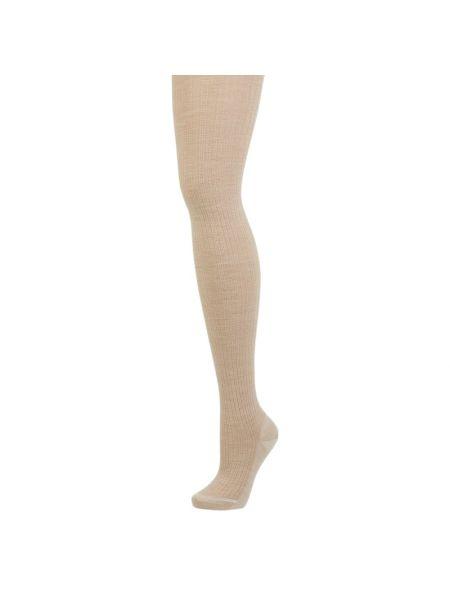 Beżowy bawełna wełniany rajstopy elastyczny Falke