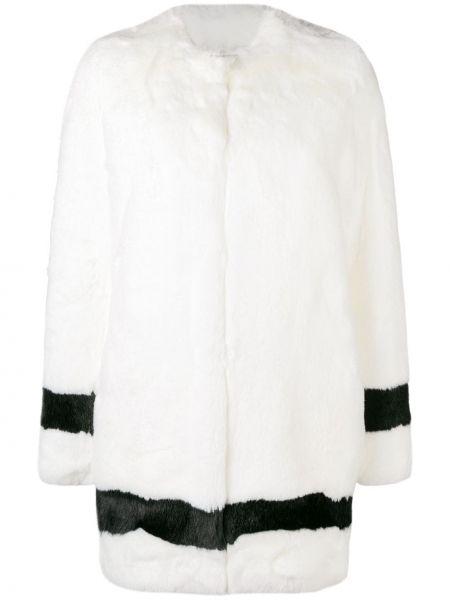 Прямое коралловое длинное пальто с воротником La Seine & Moi