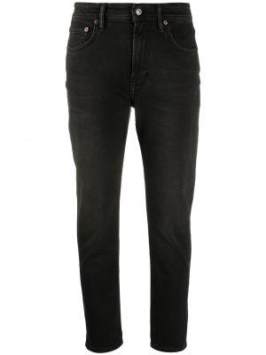 Прямые черные джинсы классические с высокой посадкой Acne Studios