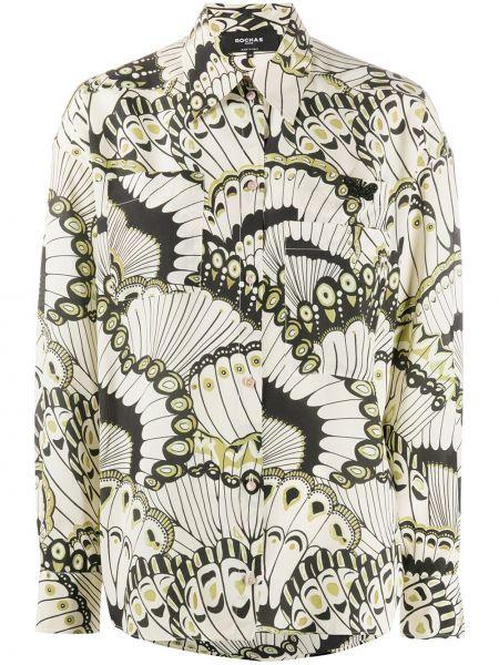 Черная классическая рубашка с воротником с манжетами на пуговицах Rochas