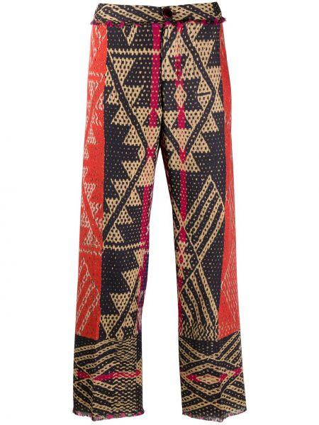 Прямые шерстяные красные укороченные брюки с высокой посадкой F.r.s. For Restless Sleepers