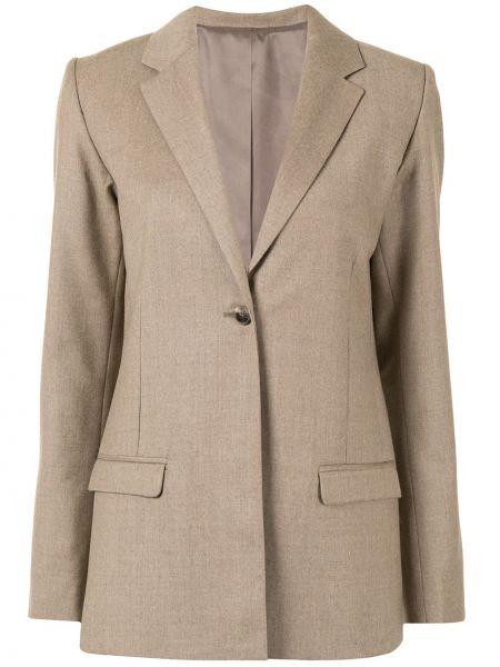 Коричневый удлиненный пиджак оверсайз с карманами Toteme