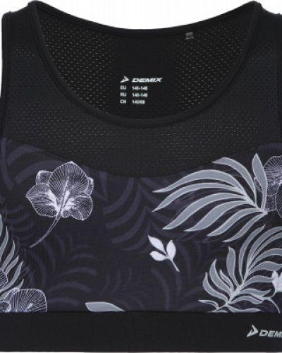 Облегченная кожаная спортивная черная футболка Demix