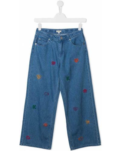 Синие джинсы классические с высокой посадкой с вышивкой Kenzo