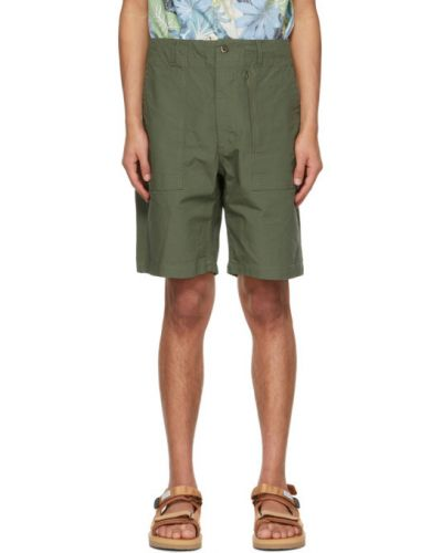 Хлопковые шорты с карманами хаки Engineered Garments