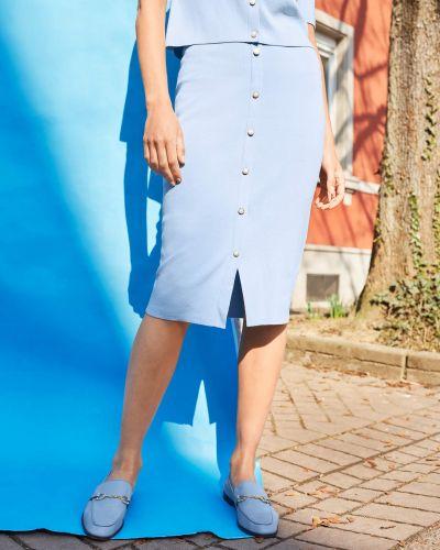 Niebieska spódnica midi dzianinowa zapinane na guziki Orsay