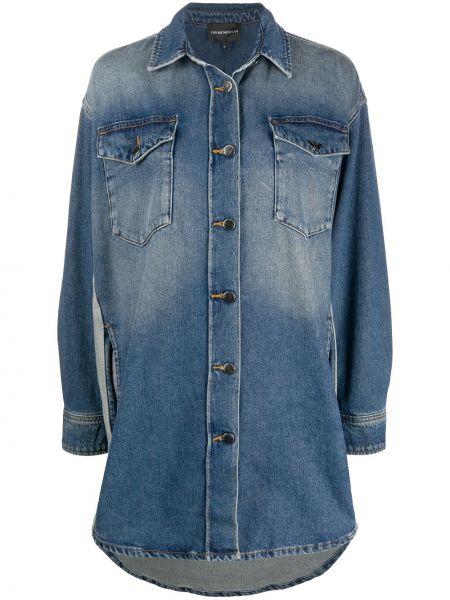 Klasyczny niebieski koszula jeansowa zapinane na guziki z mankietami Emporio Armani